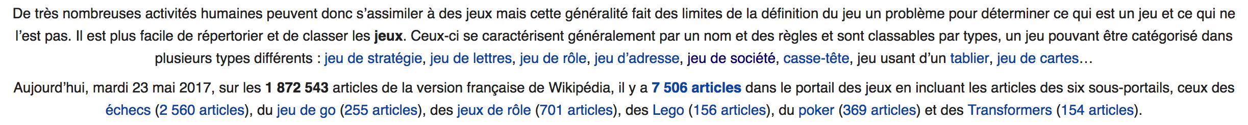 """Extrait du portail """"Jeu"""" de Wikipédia"""